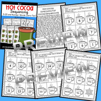 Hot Cocoa Sequencing 0-20 and Number Words (zero-ten)