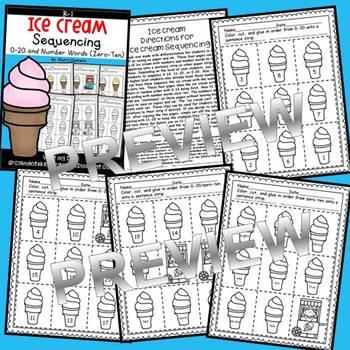 Ice Cream Sequencing 0-20 and Number Words (zero-ten)