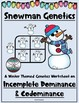 Winter Incomplete & Codominance - Snowman Punnett Squares Worksheet