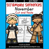 November Scrambled Sentences (Cut and Paste)