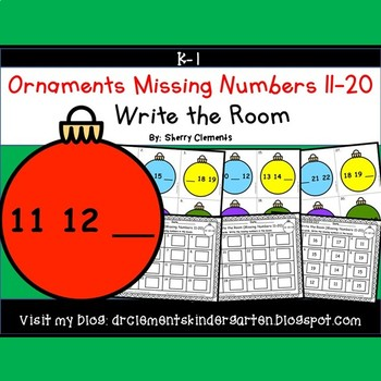 Ornaments Write the Room Missing Numbers 11-20