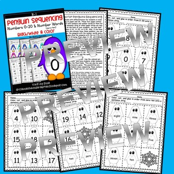 Penguins Sequencing Numbers 0-20 and Number Words (zero-ten)