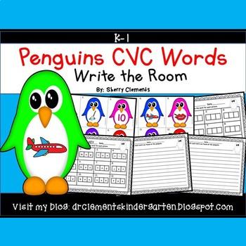 Penguins Write the Room CVC Words (Set 2)