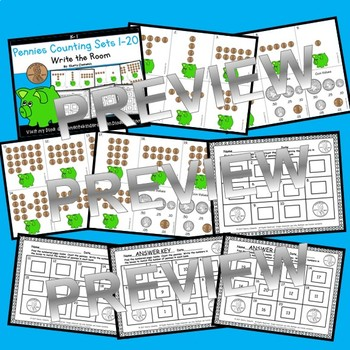 Pennies Write the Room (Counting Sets 1-20)
