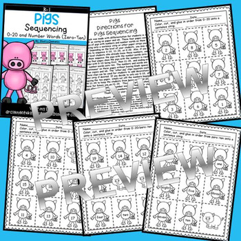 Pigs Sequencing 0-20 and Number Words (zero-ten)