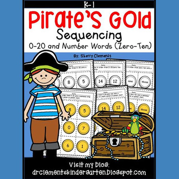 Pirate's Gold Sequencing 0-20 and Number Words (zero-ten)
