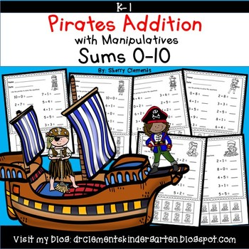 Pirates Addition with Manipulatives Sums to 10