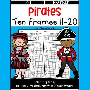 Pirates Ten Frames 11-20 (Fill in the Ten Frames)