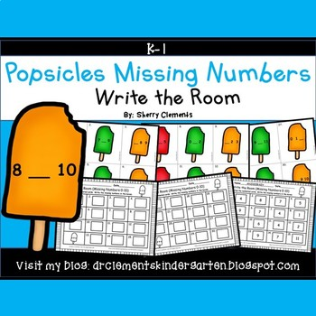 Summer Popsicles Write the Room (Missing Numbers 0-10)