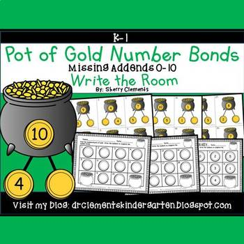 Pot of Gold Write the Room (Number Bonds Missing Addends 0-10)