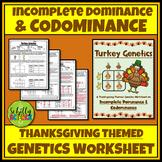 Thanksgiving Incomplete & Codominance Punnett Squares Worksheet