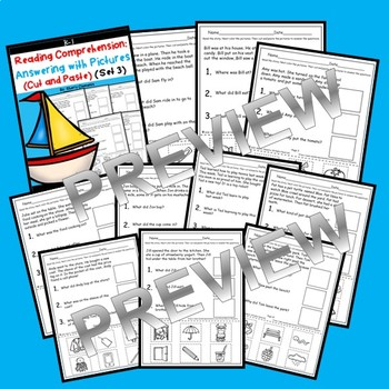 Reading Comprehension Answering with Pictures (Cut and Paste) (Set 3)