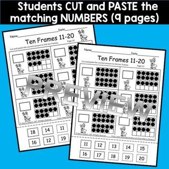 Reindeer Ten Frames 11-20 (Fill in Ten Frames and Cut and Paste)