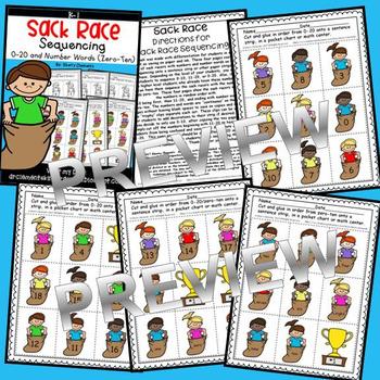 Sack Race Sequencing 0-20 and Number Words (zero-ten)