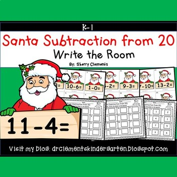 Santa Write the Room (Subtraction from 20)