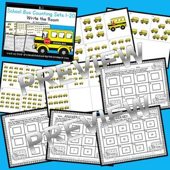 School Bus Write the Room (Counting Sets 1-20)