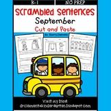 September Scrambled Sentences (Cut and Paste)