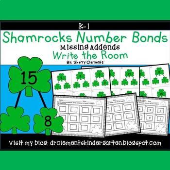 Shamrocks Write the Room Number Bonds (Missing Addends)