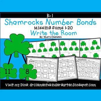 Shamrocks Write the Room Number Bonds (Missing Sums 1-20)