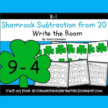 Shamrocks Write the Room (Subtraction from 20)
