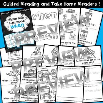 Sight Word Fluency Reader WHEN
