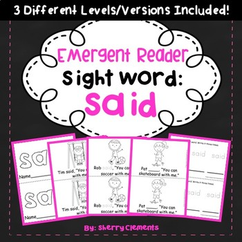 Sight Word Fluency Reader SAID