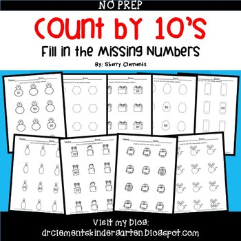 Skip Counting by 10's Fill in the Missing Numbers