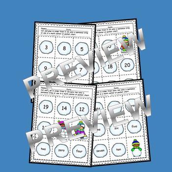 Snowballs Sequencing 0-20 and Number Words (zero-ten)