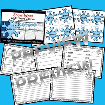 Snowflakes Sight Word Search