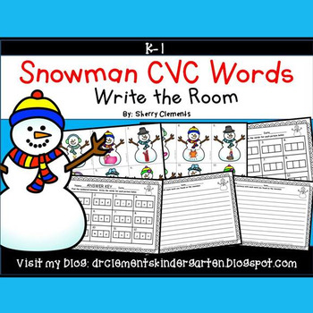 Snowman Write the Room (CVC Words)