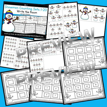 Snowman Write the Room (Counting Sets 1-20)