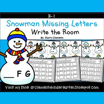 Snowman Write the Room Missing Letters
