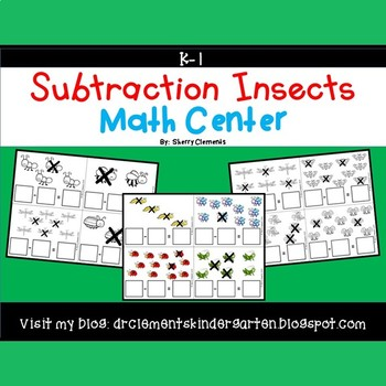 Subtraction Math Center (Insects)