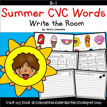 Summer CVC Words Write the Room