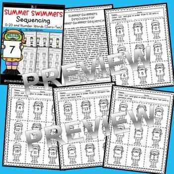 Summer Swimmers Sequencing 0-20 and Number Words (zero-ten)