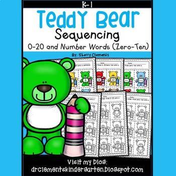 Teddy Bear Sequencing 0-20 and Number Words (zero-ten)