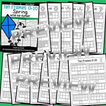 Spring Ten Frames 0-10 (Write the Number)