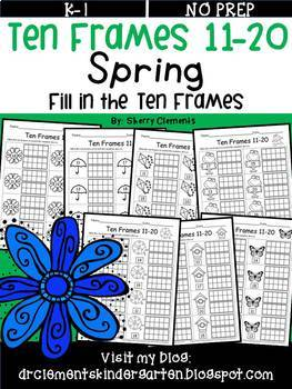 Ten Frames 11-20 Spring (Fill in the Ten Frames)