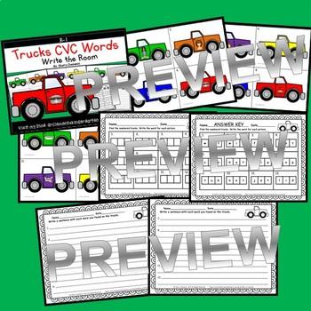 Trucks Write the Room CVC Words