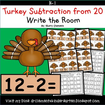 Turkey Subtraction from 20 Write the Room