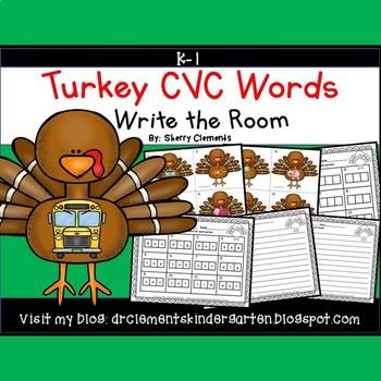 Turkey Write the Room (CVC Words)