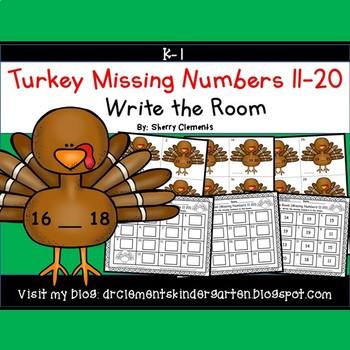 Turkeys Write the Room Missing Numbers 11-20