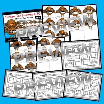 Turkeys Write the Room Ten Frames 1-20 (Set 2)