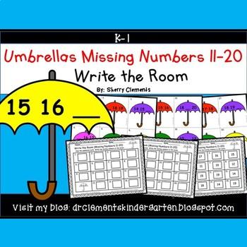 Umbrellas Write the Room (Missing Numbers 11-20)