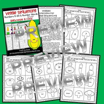 Veggies Numbers 0-20 and Number Words (zero-ten) Sequencing