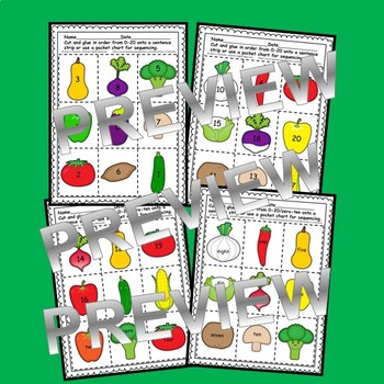 Veggies Numbers 0-20 and Number Words (zero-ten) Sequencing