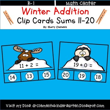 Winter Addition Clip Cards Sums 11-20 by Sherry Clements | TpT