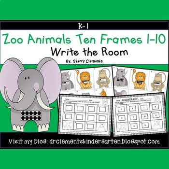 Zoo Animals Write the Room (Ten Frames 1-10)