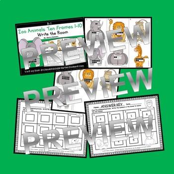 Zoo Animals Write the Room (Ten Frames 1-10)