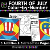 Fourth of July - Addition and Subtraction Color by Number